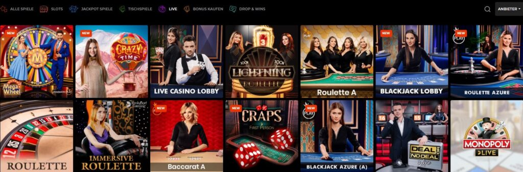 Favoriten des Live Casinos