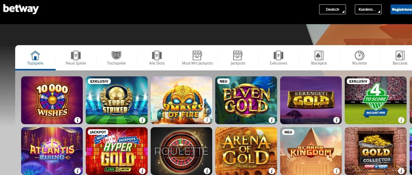 Betway Casino Spiele auf der Seite