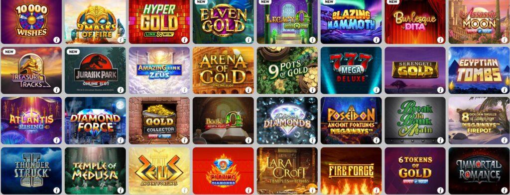Betway Casino Wahl des Spielautomaten
